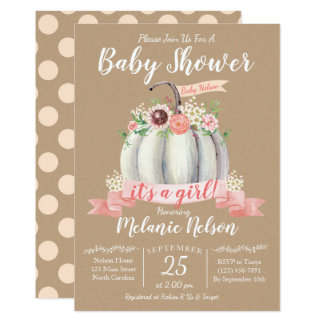 Little Pumpkin Fall Baby Shower Invitation Girl