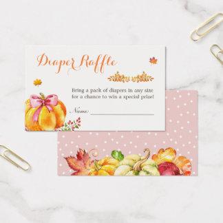 Little Pumpkin Fall Girl Baby Shower Diaper Raffle Business Card