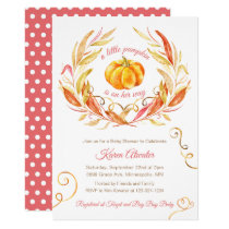Little Pumpkin Fall Girls Baby Shower Invitation