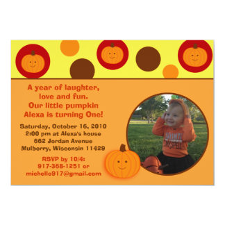 Little Pumpkin Fall Photo Birthday Invitations