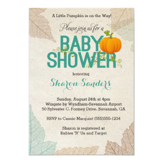 "Little Pumpkin- Fall Themed Baby Shower Invitation 5"" X 7"" Invitation Card"
