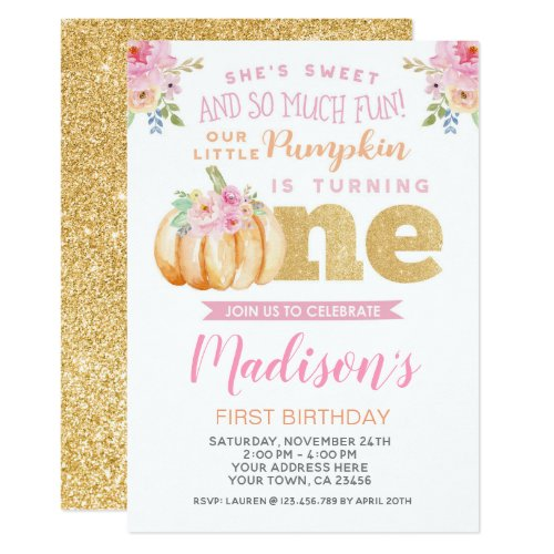Little Pumpkin First Birthday Invitation