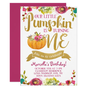 Pumpkin birthday invitations zazzle little pumpkin first birthday invitation filmwisefo