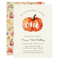 Little Pumpkin First Birthday Party Invitation
