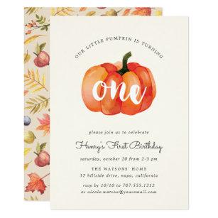 Pumpkin birthday invitations zazzle little pumpkin first birthday party invitation filmwisefo
