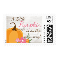 Little Pumpkin Floral Fall Girl Baby Shower Postage