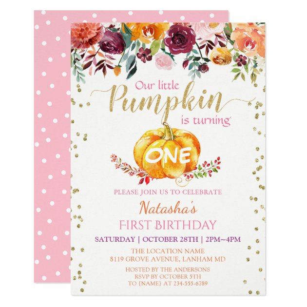 Little Pumpkin Floral Girl Baby 1st Birthday Party Card