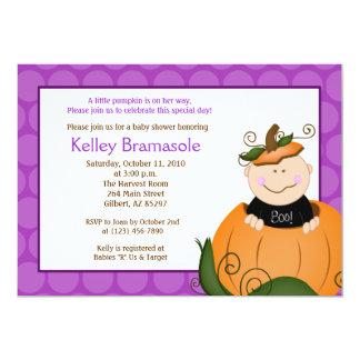 Little Pumpkin Girl Baby Shower 5x7 Invitation