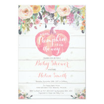 Little Pumpkin Girl Baby Shower Invitation Card
