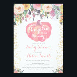 """Little Pumpkin Girl Baby Shower Invitation Card<br><div class=""""desc"""">Little Pumpkin Girl Baby Shower Invitation Card with Watercolor Floral and Gold Glitter Confetti Background. For further customization,  please click the &quot;Customize it&quot; button and use our design tool to modify this template.</div>"""