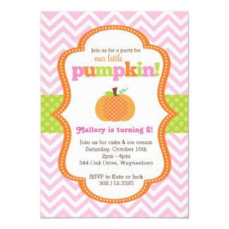 Little Pumpkin Girl Birthday Party Invitation