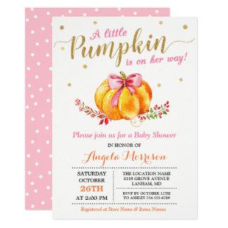 Little Pumpkin Girl Gold Pink Fall Baby Shower Card