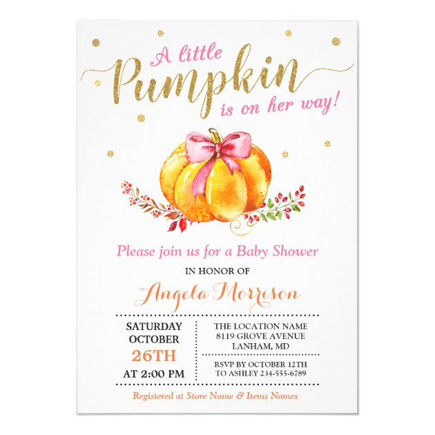 Little Pumpkin Girl Gold Pink Fall Baby Shower Card (back side)