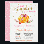 "Little Pumpkin Girl Gold Pink Fall Baby Shower Invitation<br><div class=""desc"">Celebrate the mother-to-be with this &quot;A Little Pumpkin Girl Gold Pink Fall Baby Shower Invitation&quot; to match her style. You can easily personalize this template to be uniquely yours! (1) For further customization, please click the &quot;customize further&quot; link and use our design tool to modify this template. (2) If you...</div>"
