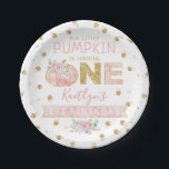 """Little Pumpkin Girls 1st Birthday Paper Plate<br><div class=""""desc"""">These cute pumpkin paper plates are perfect for anyone celebrating a first Birthday this fall time. The design features a hand painted watercolor pumpkin on a simple white background with easy to personalize template wording.</div>"""