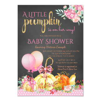 Little Pumpkin Girls Chalkboard Fall Baby Shower Card