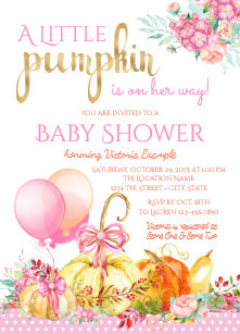 Pumpkin baby shower invitations announcements zazzle little pumpkin girls fall baby shower invitations filmwisefo Choice Image