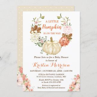 Little Pumpkin Gold Glitters Fall Baby Shower Invitation