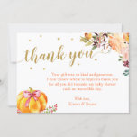 Little Pumpkin Gold Glitters Fall Girl Baby Shower Thank You Card