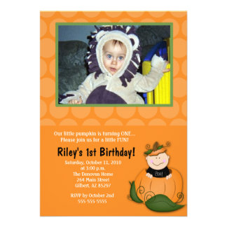 Little Pumpkin Halloween 5x7 Photo Birthday Custom Invitations
