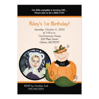 Little Pumpkin Halloween 5x7 Photo Birthday Invites