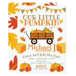 Little Pumpkin Invitation, Pumpkin Patch Birthday Card
