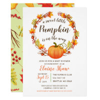 little pumpkin is on the way fall baby shower invitation