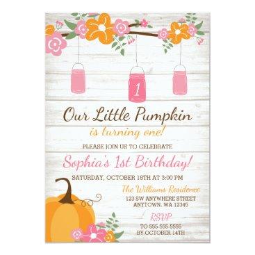 Halloween Themed Little Pumpkin Mason Jars Fall Girl First Birthday Card