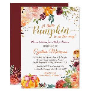 Little Pumpkin On Her Way Fall Fl Baby Shower Invitation