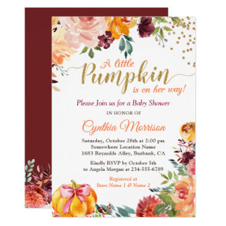 Little Pumpkin on Her Way Fall Floral Baby Shower Invitation