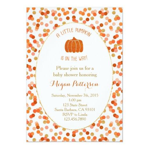 little pumpkin on the way baby shower invitation zazzle
