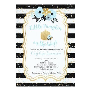Halloween Themed Little Pumpkin on the Way- Blue and Gold- Boy Card