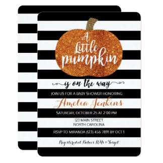 Little Pumpkin On The Way Fall Baby Shower Invite