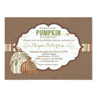 Little Pumpkin on the Way! Rustic Baby Shower Card