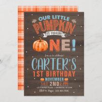 Little Pumpkin Orange and Blue Birthday Invitation