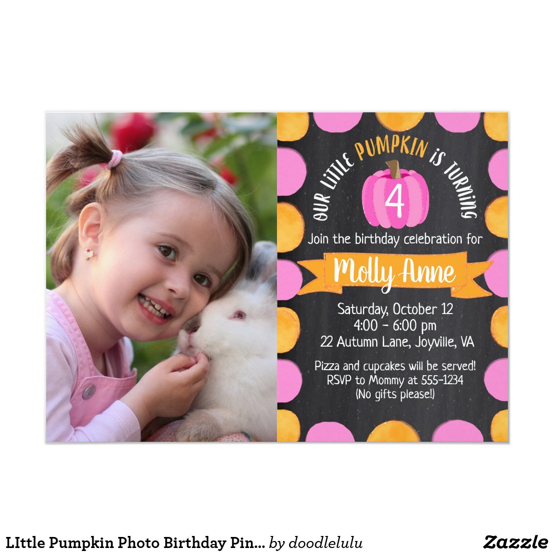 LIttle Pumpkin Photo Birthday Pink on Chalkboard Invitation