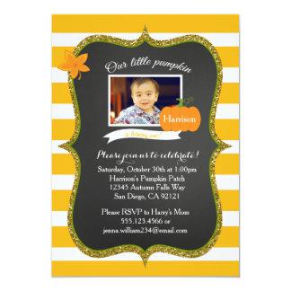 Little Pumpkin Photo First Birthday invitation
