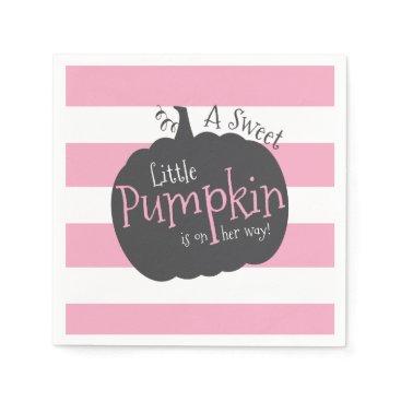 Halloween Themed Little Pumpkin Pink Baby Girl Shower Napkins