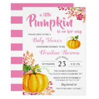 Little Pumpkin Pink Floral Baby Shower Invitation