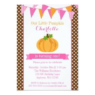 Little Pumpkin Pink Orange Bunting Girl Birthday 5x7 Paper Invitation Card
