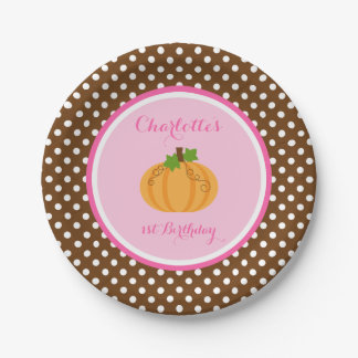 Little Pumpkin Pink Orange Girl Birthday Paper Plate
