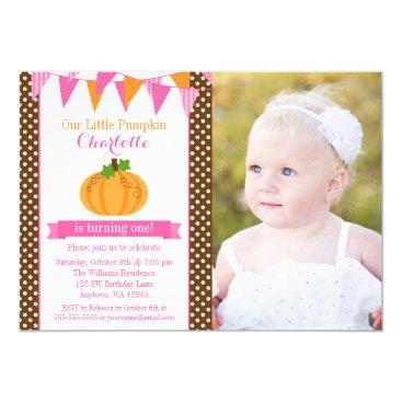 Halloween Themed Little Pumpkin Pink Orange Girl Photo Birthday Card