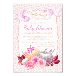 Little Pumpkin Pink Pumpkin Baby Shower Invitation