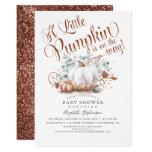Little Pumpkin Rose Gold Glitters Fall Baby Shower Invitation