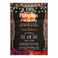 Little Pumpkin Rustic Autumn Leaves Baby Shower Invitation