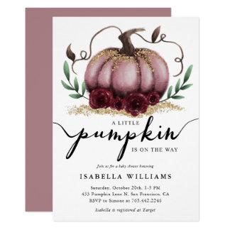 Little Pumpkin Rustic Pink Gold Baby Shower Invitation