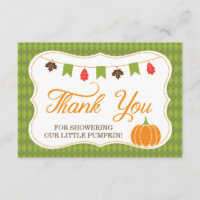 Little Pumpkin Thank You Card, Fall, Autumn