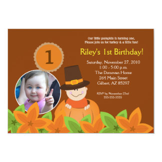 Little Pumpkin Thanksgiving 5x7 Photo Birthday 5x7 Paper Invitation Card