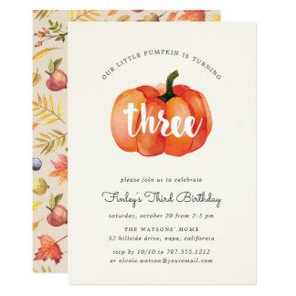 Little Pumpkin Third Birthday Party Invitation