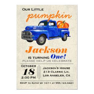 Little blue truck gifts on zazzle little pumpkin vintage car boy birthday invitation filmwisefo